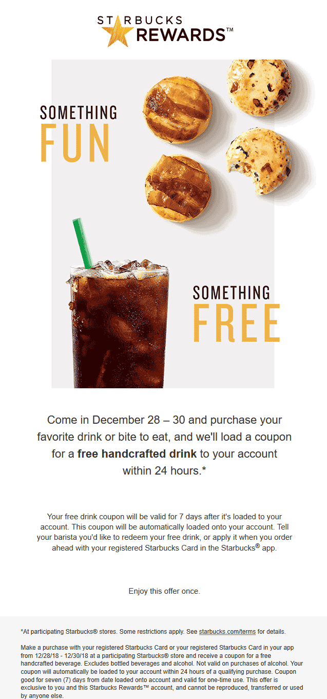 Starbucks Coupon January 2020 Second coffee free at Starbucks