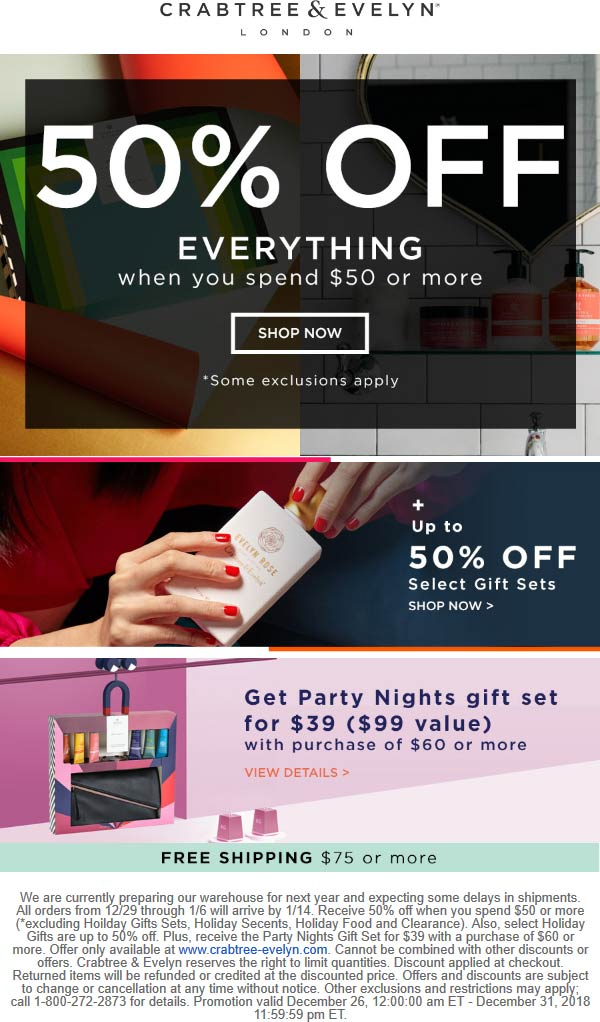 Crabtree & Evelyn Coupon January 2020 50% off $50+ online at Crabtree & Evelyn