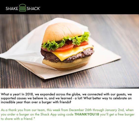 Shake Shack Coupon July 2019 Second burger free at Shake Shack via promo code THANKYOU18