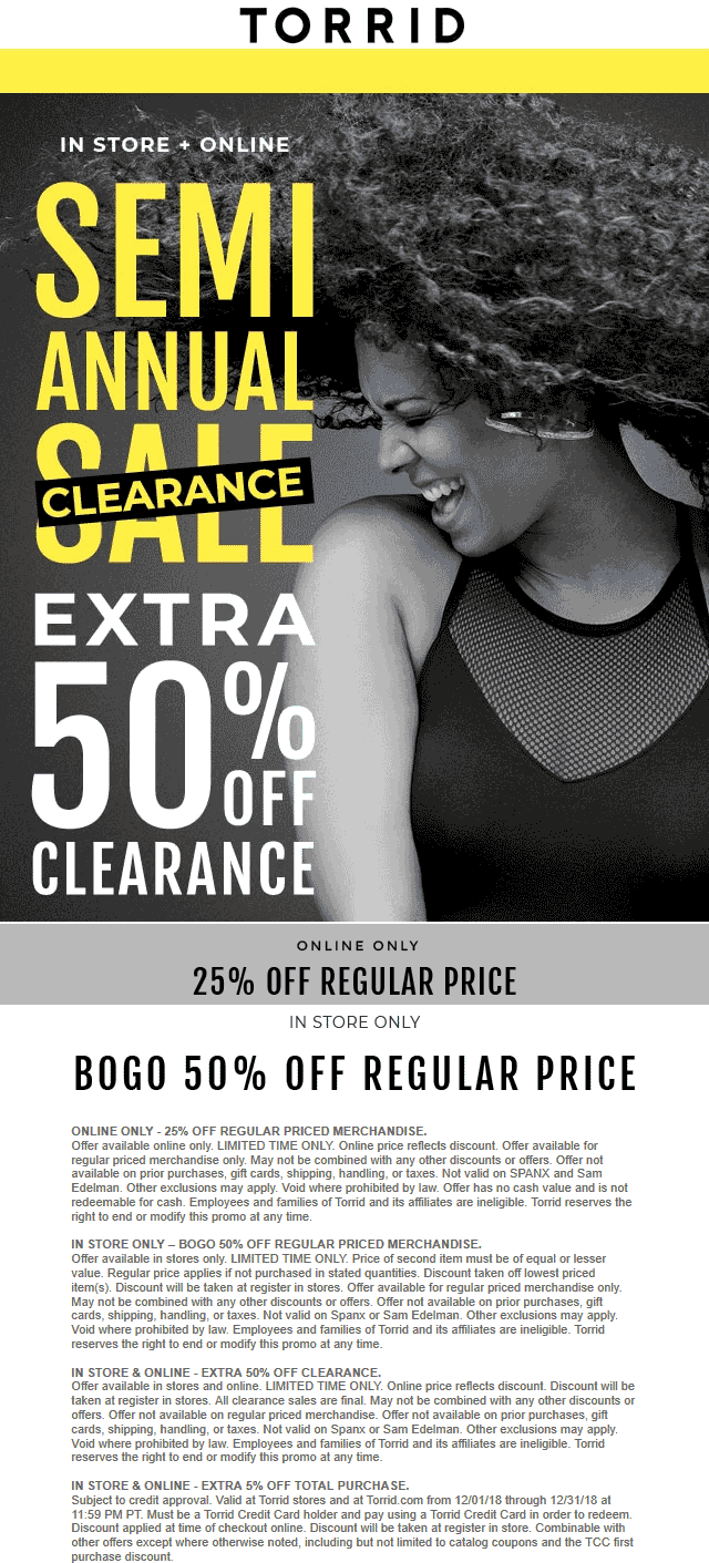 Torrid Coupon May 2019 Extra 50% off clearance & more at Torrid, ditto online