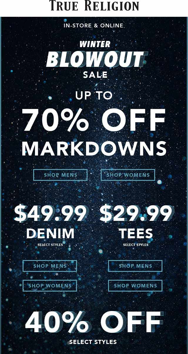 True Religion Coupon September 2019 40-70% off sale going on at True Religion, ditto online