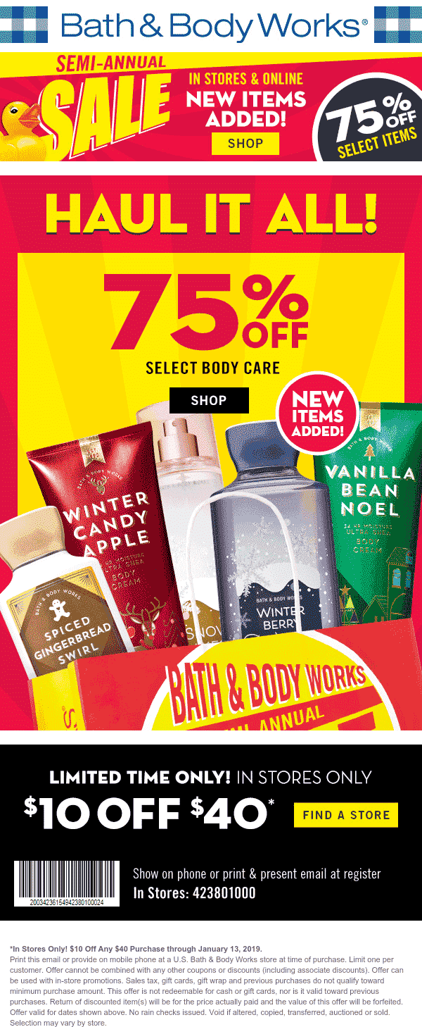 Bath & Body Works Coupon July 2019 $10 off $40 at Bath & Body Works