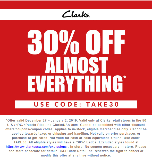 Clarks Coupon January 2020 30% off at Clarks shoes, or online via promo code TAKE30