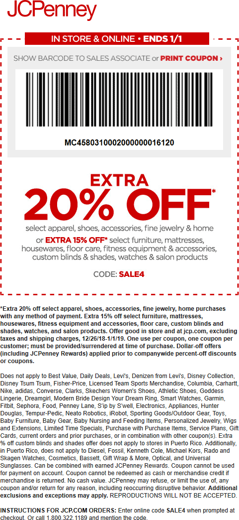 JCPenney Coupon January 2020 Extra 20% off at JCPenney, or online via promo code SALE4
