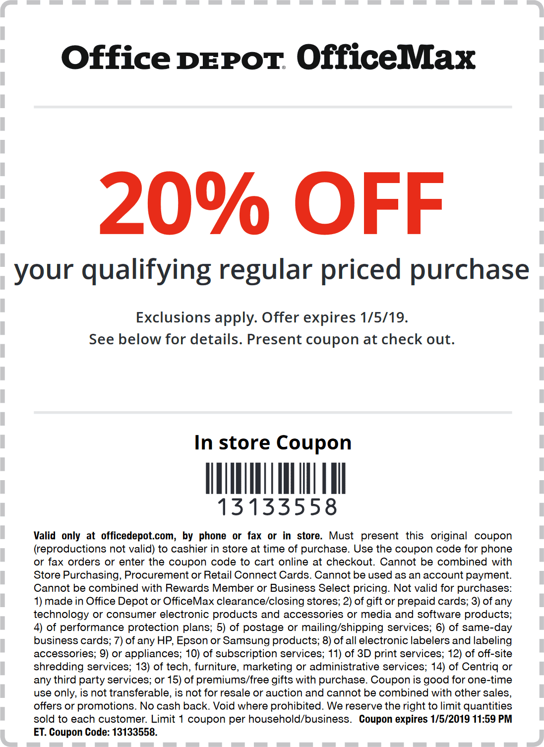 Office Depot Coupon December 2019 20% off at Office Depot & OfficeMax, or online via promo code 13133558
