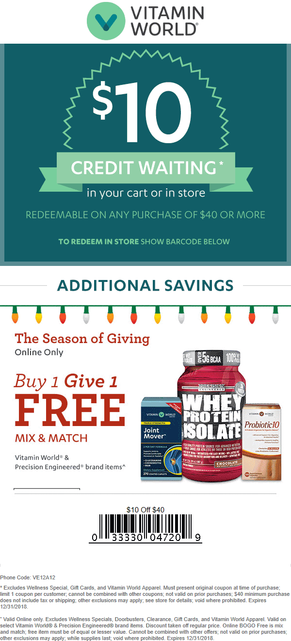 Vitamin World Coupon January 2020 $10 off $40 at Vitamin World, or online via promo code VE12A12