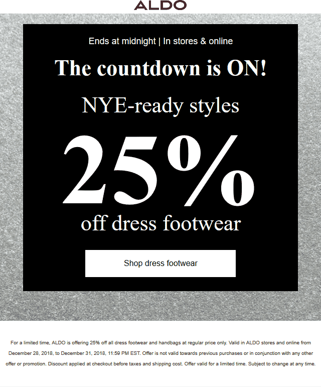 Aldo Coupon October 2019 25% off dress footwear & handbags today at ALDO, ditto online