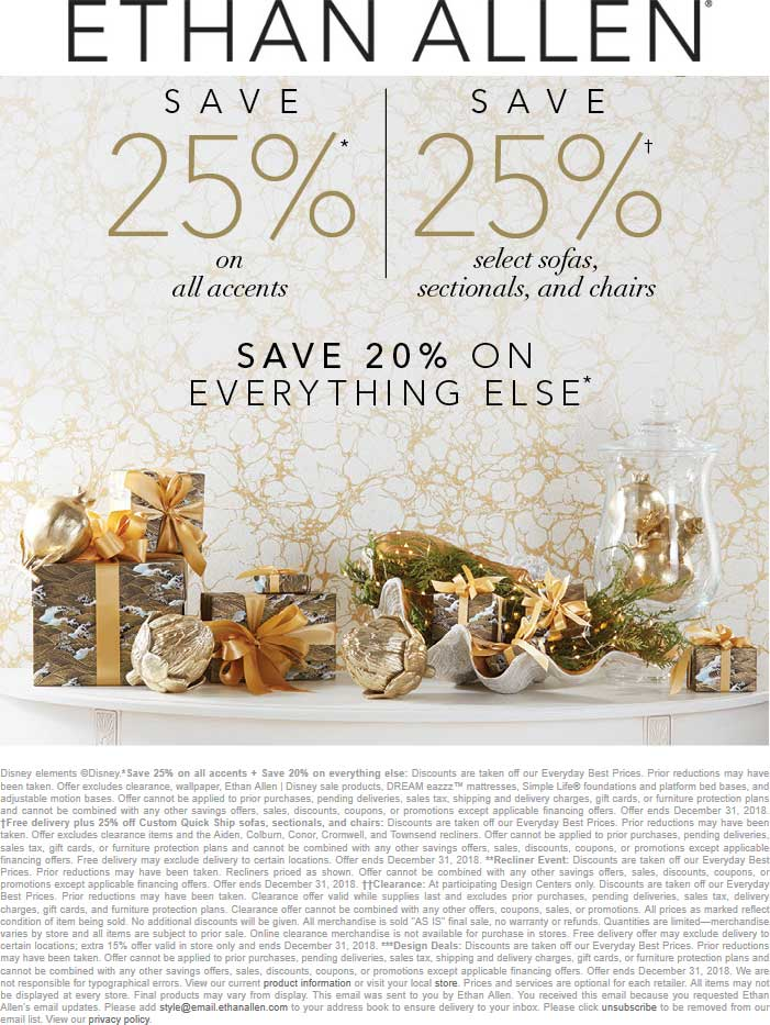 Ethan Allen Coupon May 2019 20% off everything & more today at Ethan Allen, ditto online