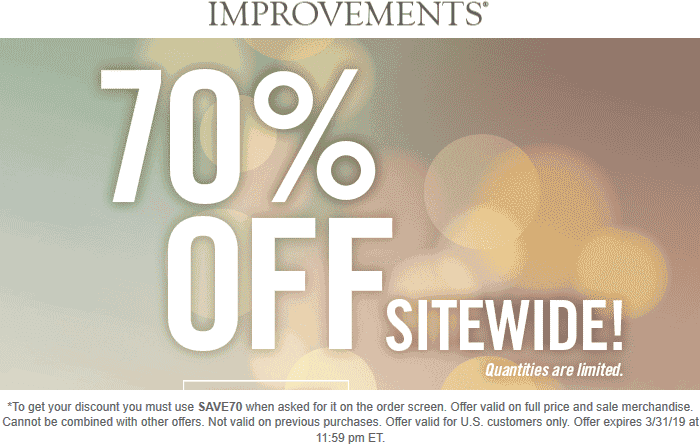 Improvements.com Promo Coupon 70% off everything at Improvements catalog via promo code SAVE70