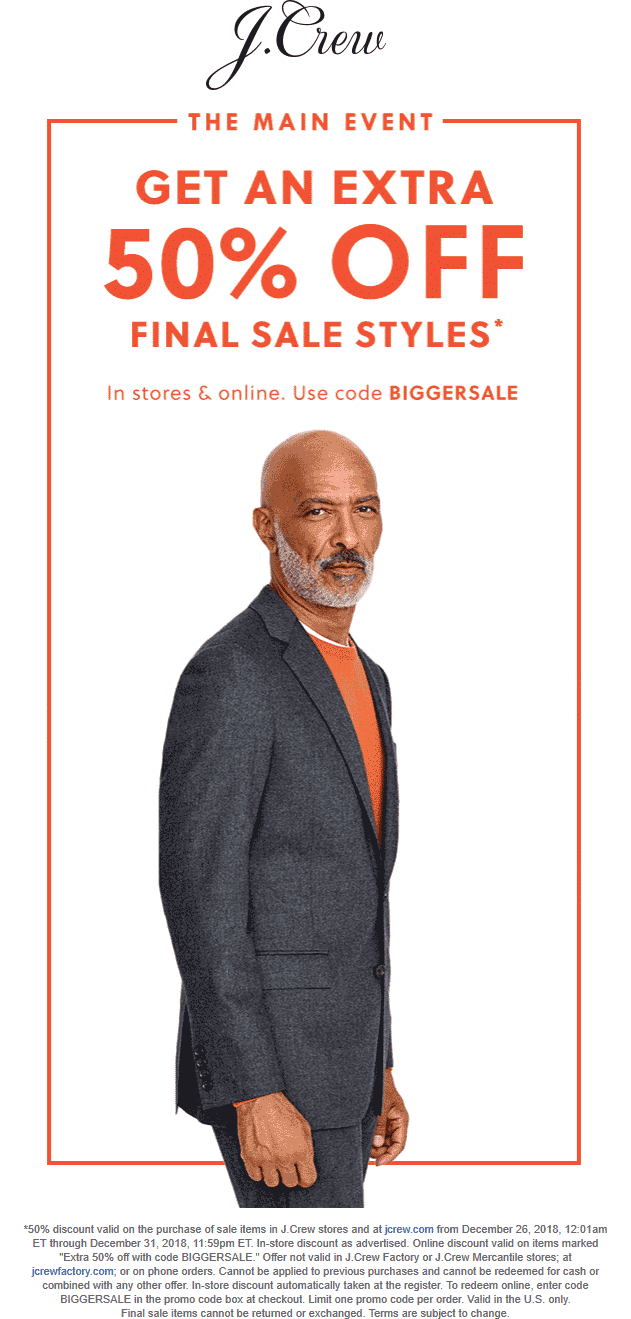 J.Crew Coupon September 2019 Extra 50% off clearance today at J.Crew, or online via promo code BIGGERSALE