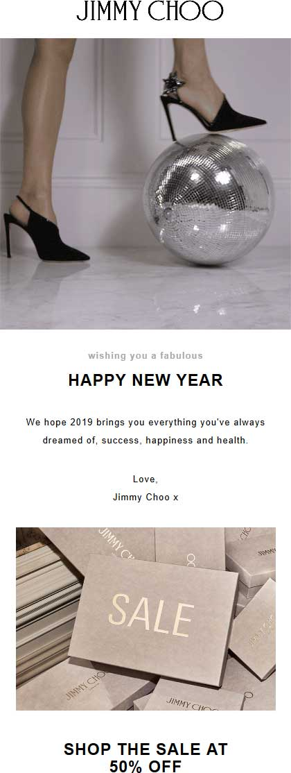 Jimmy Choo Coupon January 2020 50% off sale going on at Jimmy Choo, ditto online