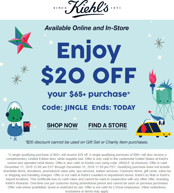 Kiehls Coupon October 2019 $20 off $65 today at Kiehls, or online via promo code JINGLE
