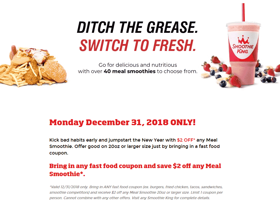 Smoothie King Coupon August 2019 $2 off today at Smoothie King