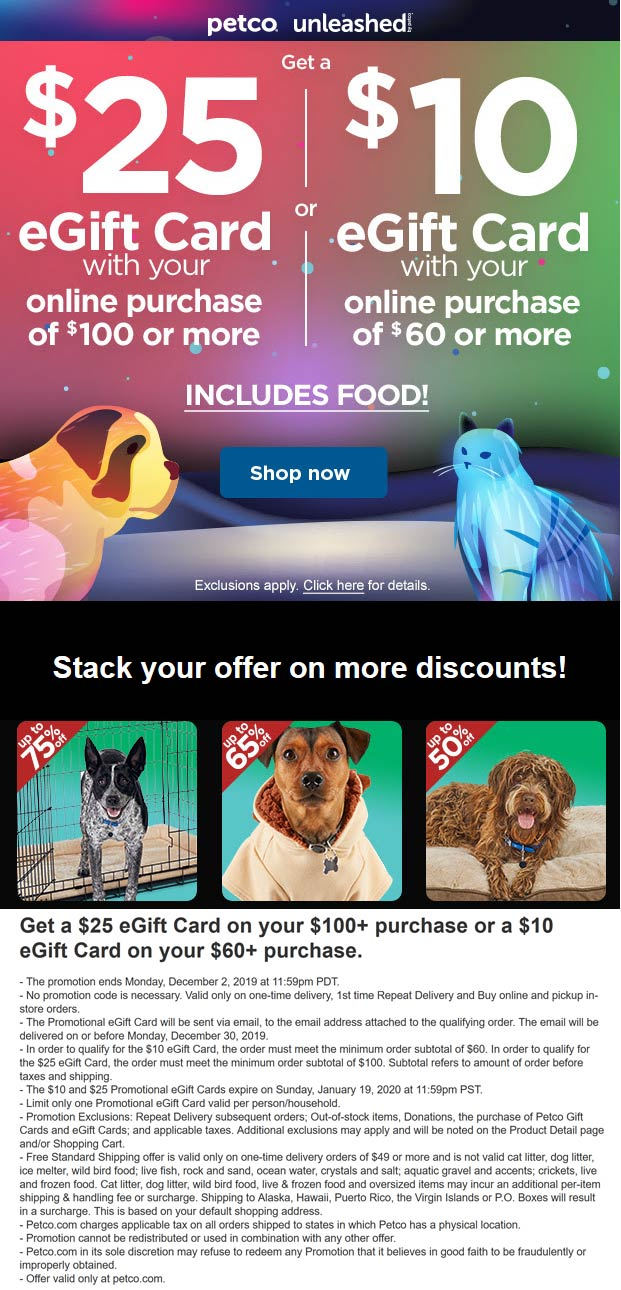 Petco Coupon January 2020 $10-$25 card with $60+ spent online at Petco