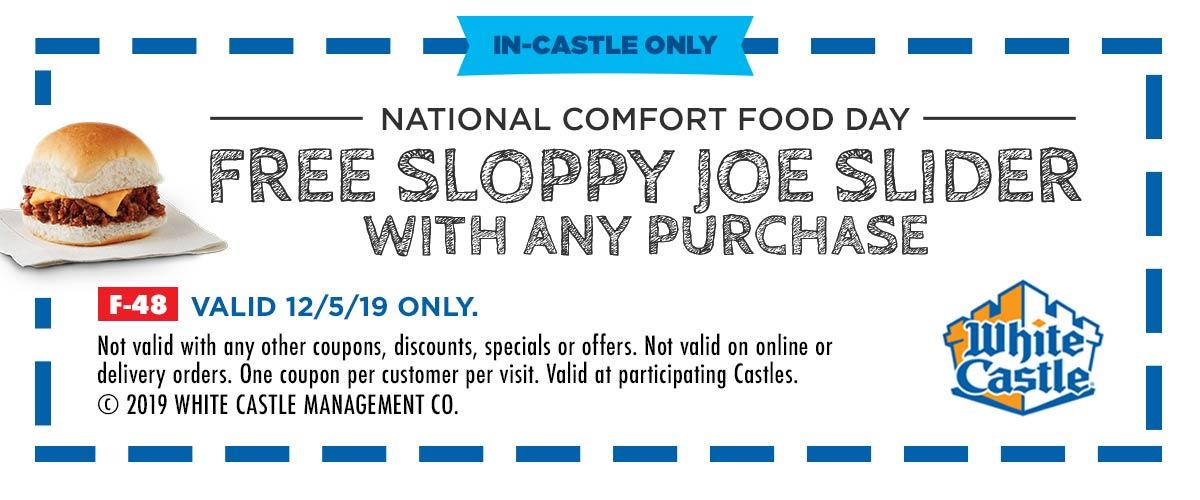 White Castle Coupon December 2019 Free sloppy joe slider with your order Thursday at White Castle restaurants