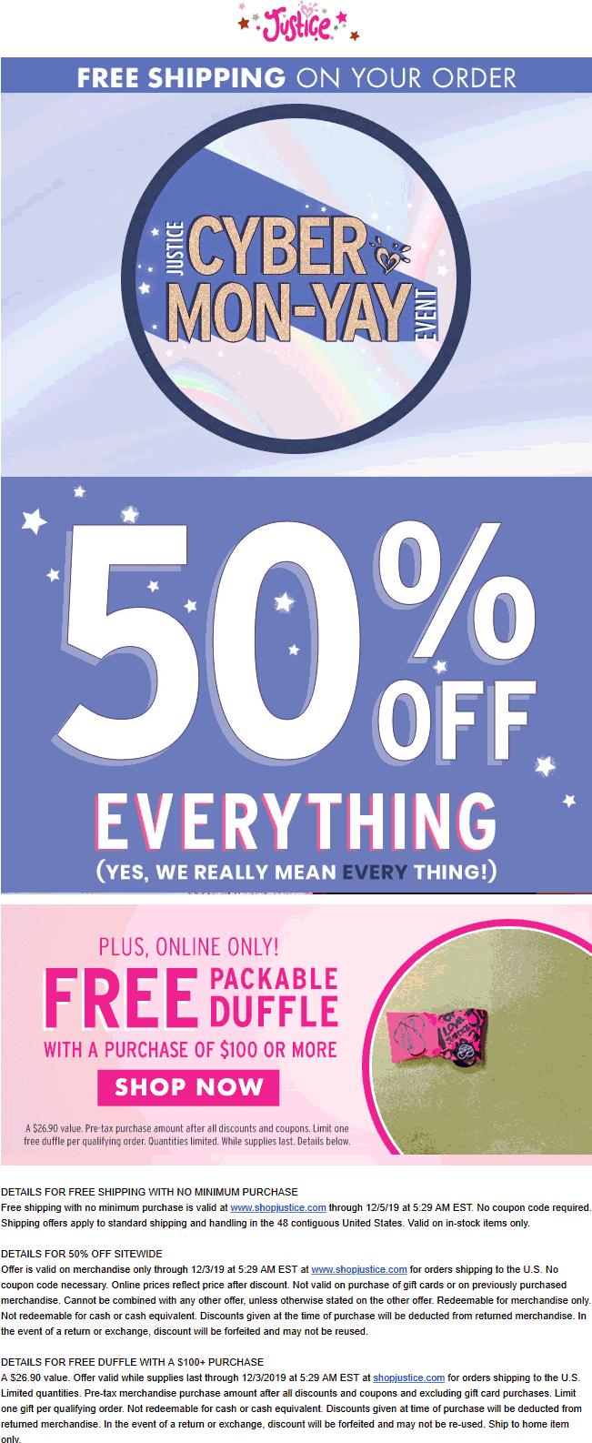 Justice Coupon January 2020 50% off everything online at Justice