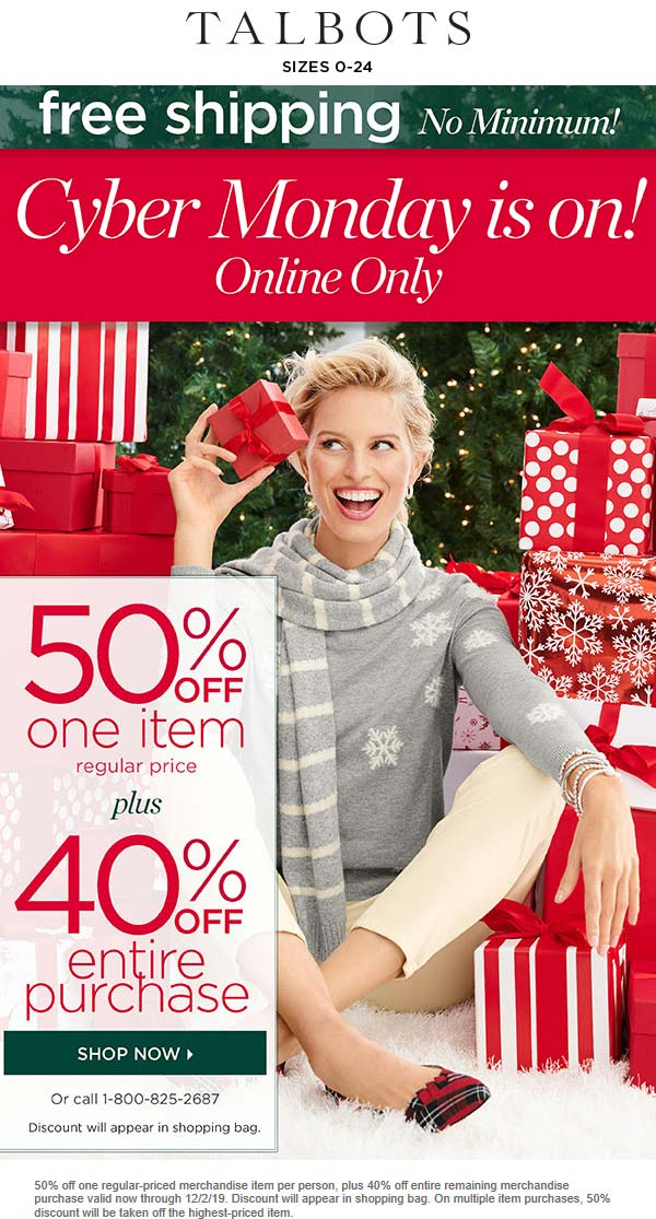 Talbots Coupon December 2019 40-50% off online today at Talbots