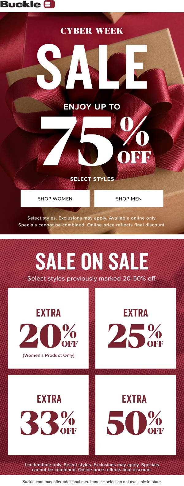 Buckle Coupon January 2020 Extra 50% off sale items at Buckle, ditto online