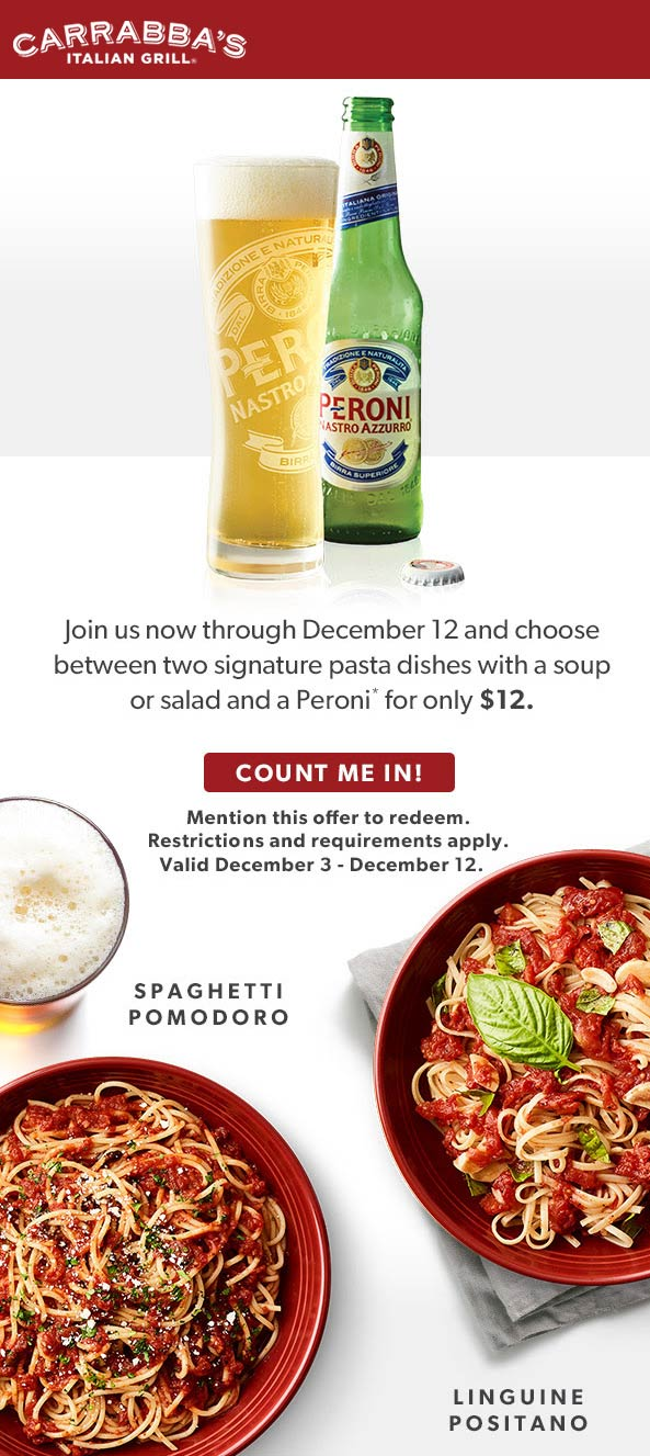 Carrabbas Coupon January 2020 $12 meal with lager at Carrabbas Italian Grill