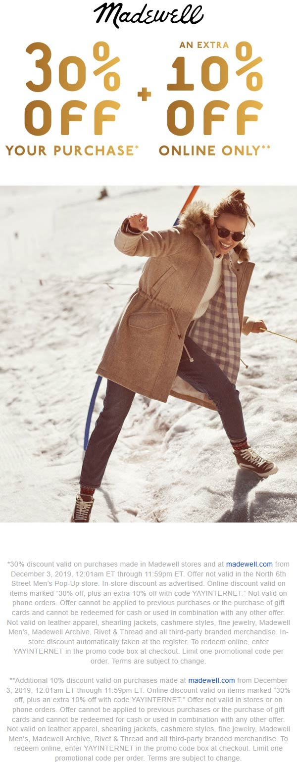 Madewell Coupon January 2020 30% off today at Madewell, or 40% online via promo code YAYINTERNET