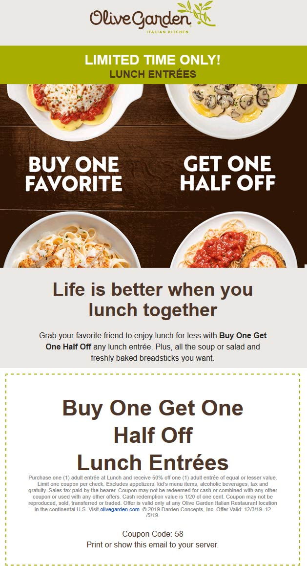 Olive Garden Coupon December 2019 Second lunch 50% off at Olive Garden