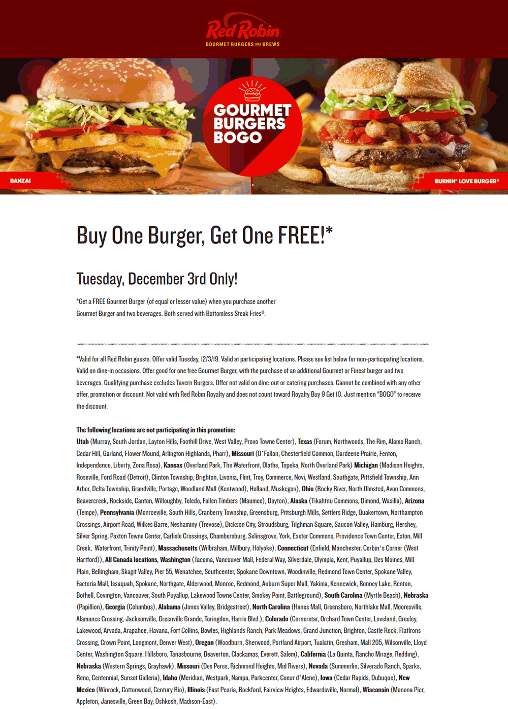 Red Robin Coupon December 2019 Second burger free today at Red Robin restaurants