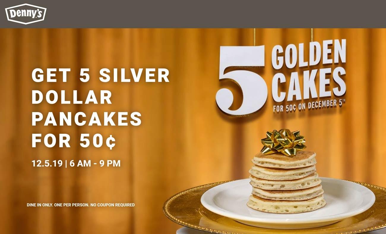 Dennys Coupon January 2020 5 pancakes = .50 cents Thursday at Dennys restaurants