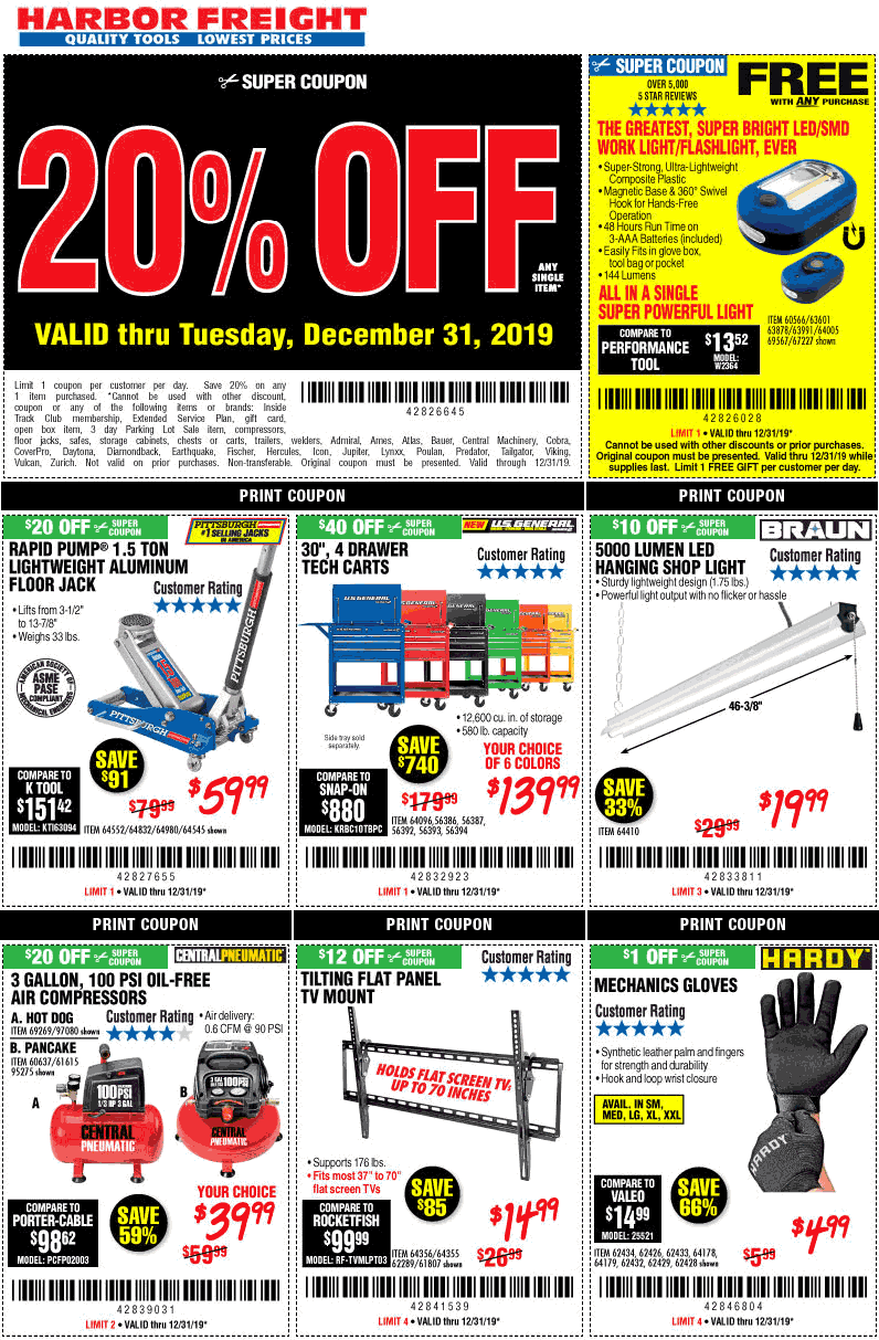 Harbor Freight Coupon January 2020 20% off a single item at Harbor Freight Tools