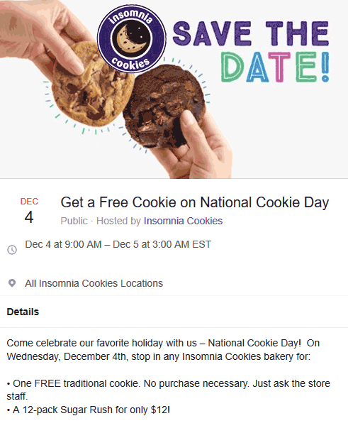 Insomnia Cookies Coupon January 2020 Free cookie today at Insomnia Cookies