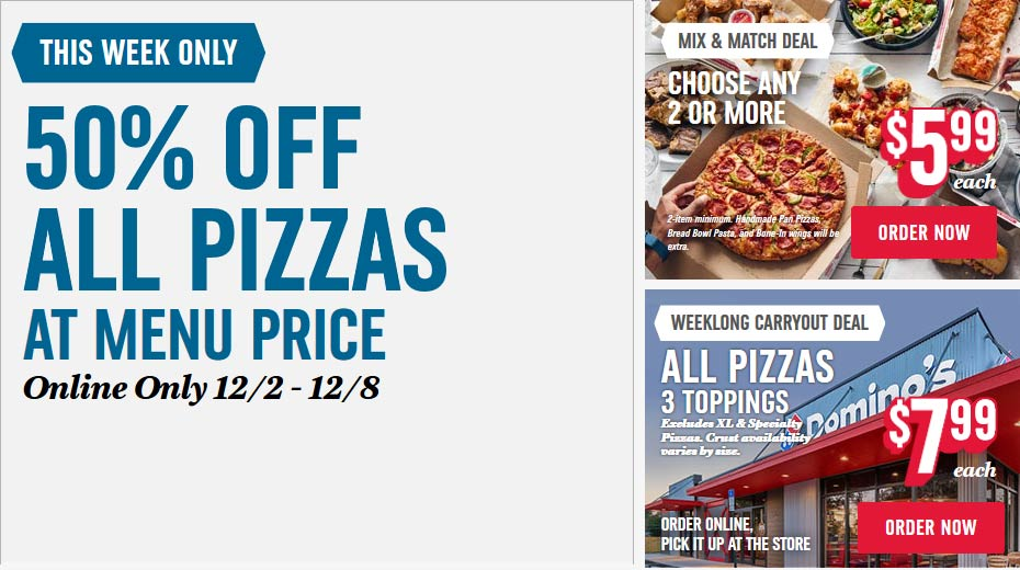 Dominos Coupon January 2020 50% off all pizzas at Dominos