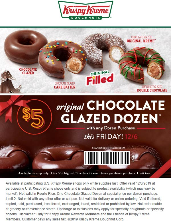 Krispy Kreme Coupon January 2020 $5 chocolate dozen doughnuts with your dozen Friday at Krispy Kreme
