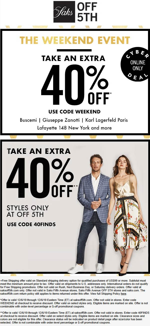 OFF 5TH Coupon January 2020 40% off online at Saks OFF 5TH via promo code WEEKEND