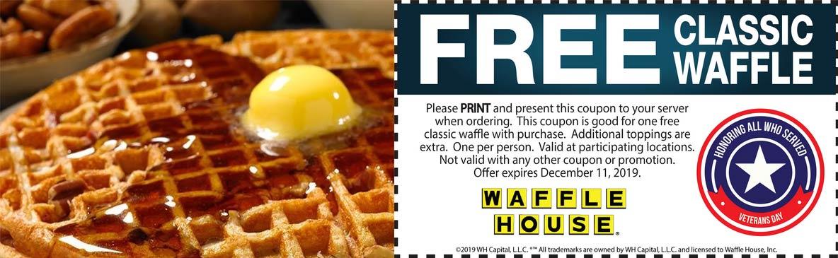 Waffle House Coupon January 2020 Free waffle at Waffle House restaurants