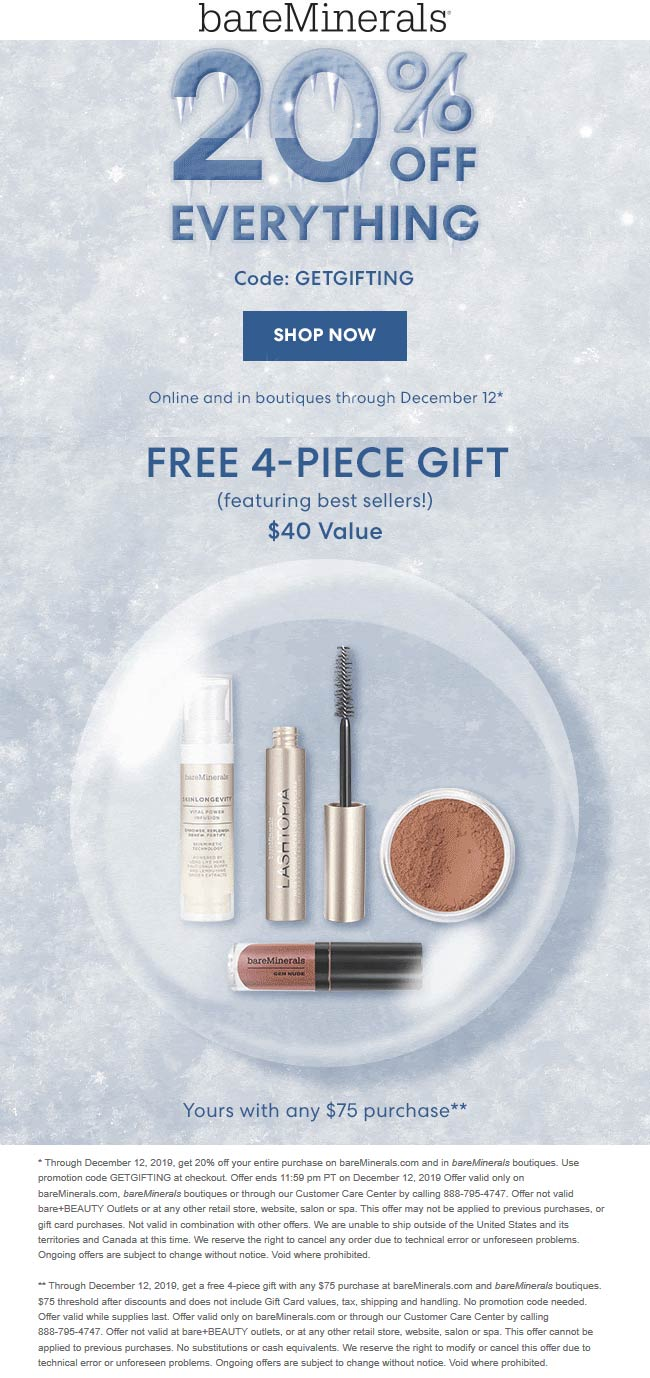 bareMinerals Coupon January 2020 20% off everything at bareMinerals, or online via promo code GETGIFTING
