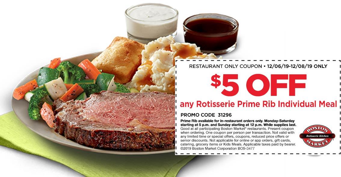 Boston Market Coupon January 2020 $5 off prime rib meal at Boston Market