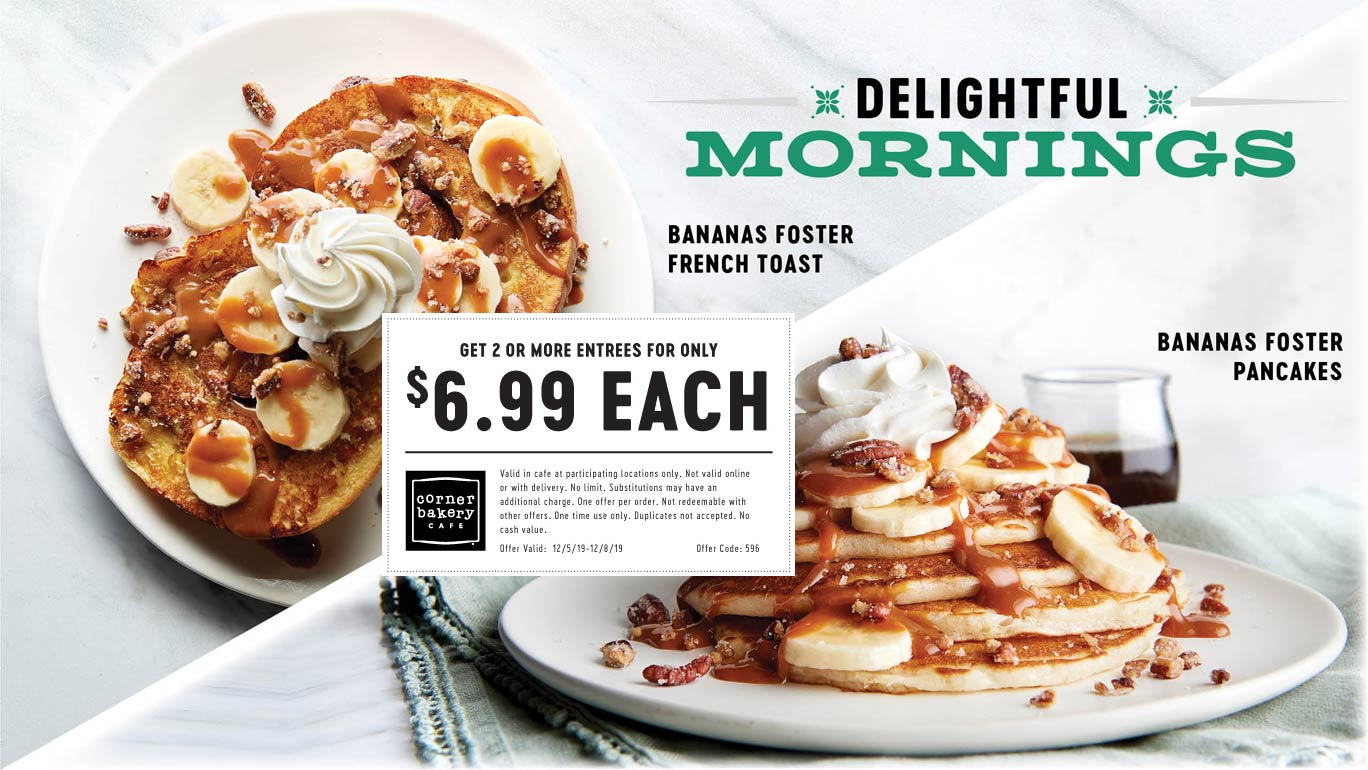 Corner Bakery Coupon January 2020 $7 entrees at Corner Bakery Cafe