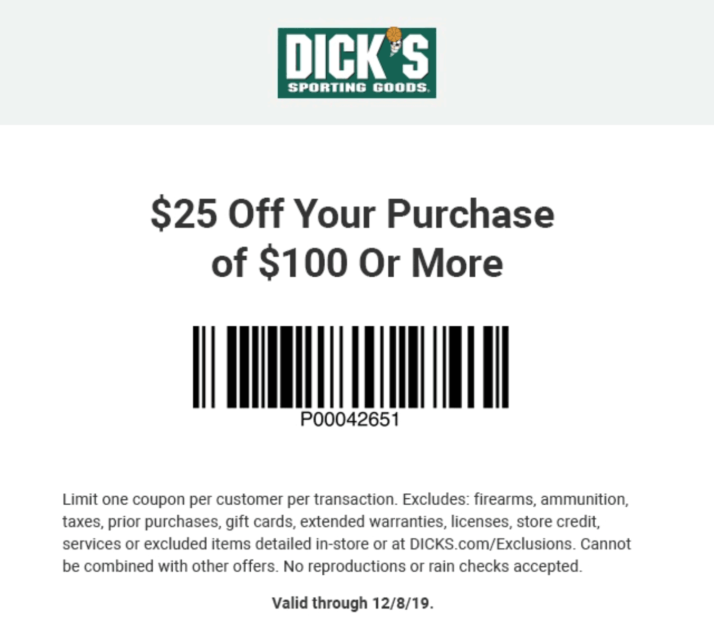Dicks Coupon January 2020 $25 off $100 at Dicks sporting goods, ditto online