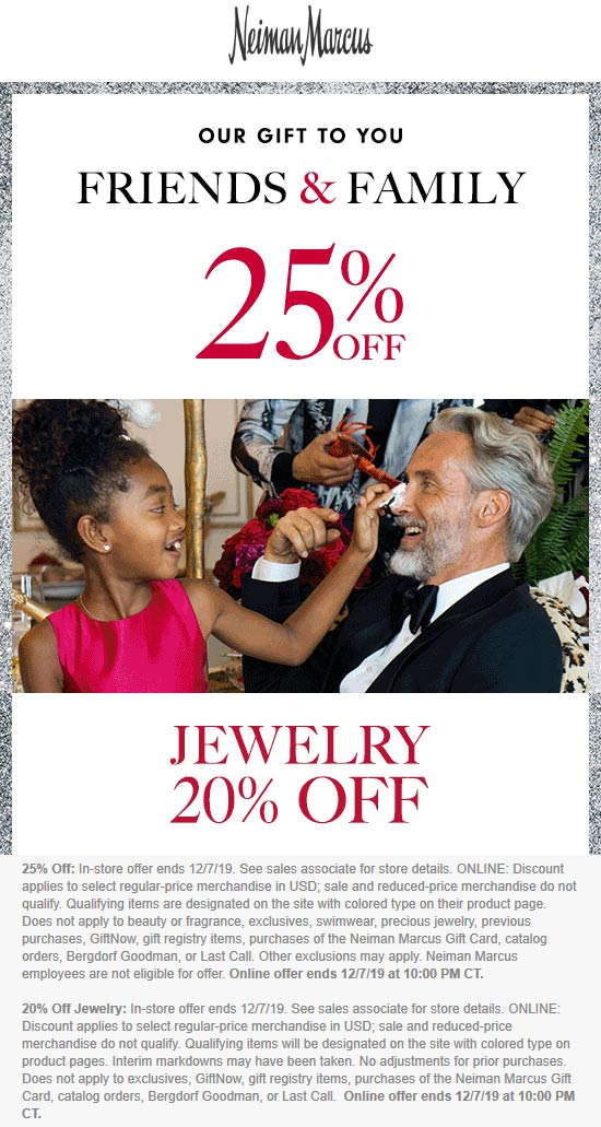 Neiman Marcus Coupon January 2020 25% off at Neiman Marcus, ditto online