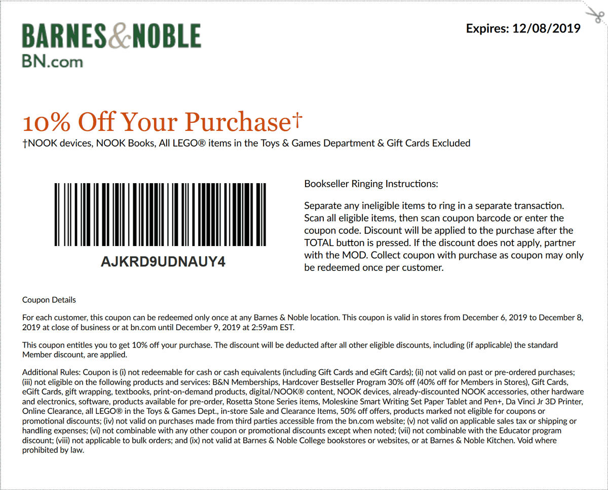 Barnes & Noble Coupon January 2020 10% off at Barnes & Noble, or online via promo code AJKRD9UDNAUY4