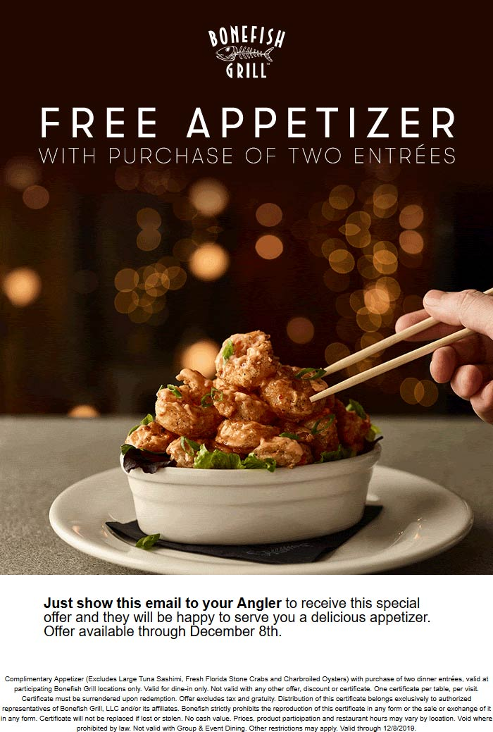Bonefish Grill Coupon January 2020 Free appetizer with your entrees at Bonefish Grill