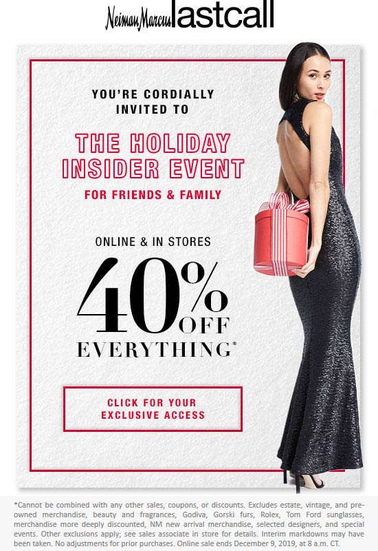Last Call Coupon January 2020 40% off at Neiman Marcus Last Call, ditto online