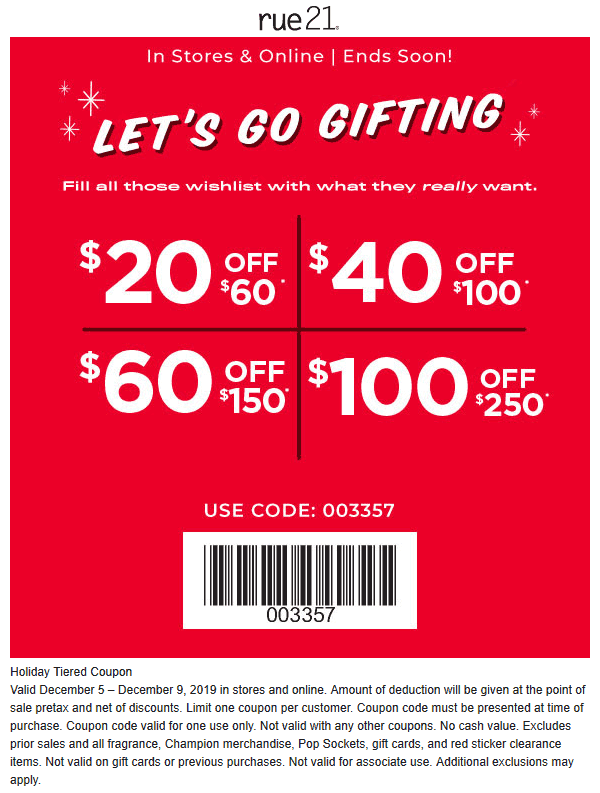 Rue21 Coupon January 2020 $20 off $60 & more at rue21, or online via promo code 003357