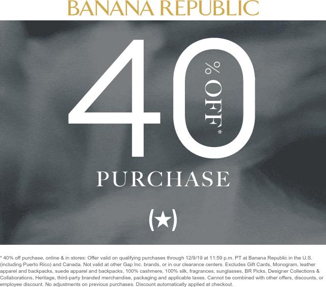 Banana Republic Coupon January 2020 40% off at Banana Republic, ditto online