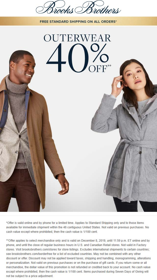 Brooks Brothers Coupon January 2020 40% off outerwear today at Brooks Brothers, ditto online