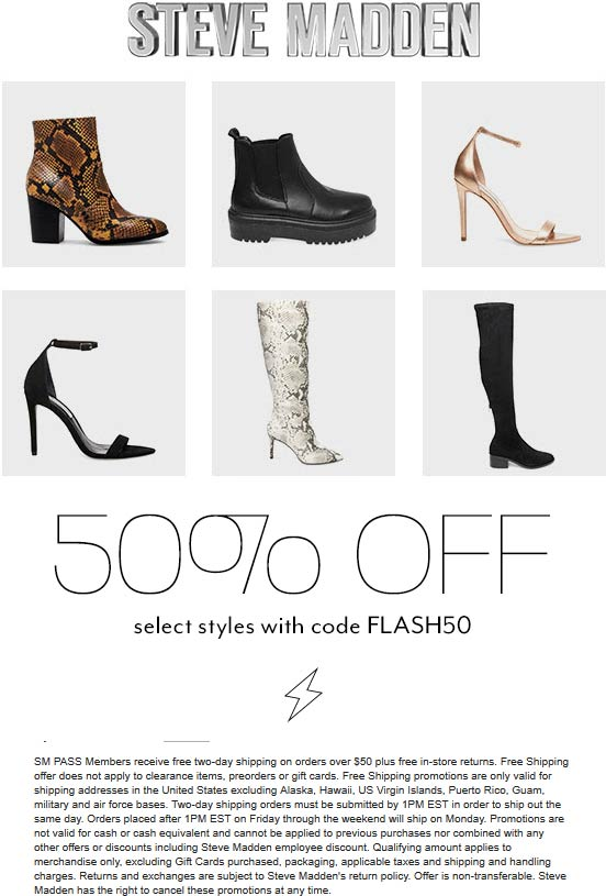 Steve Madden Coupon January 2020 50% off various shoes at Steve Madden via promo code FLASH50