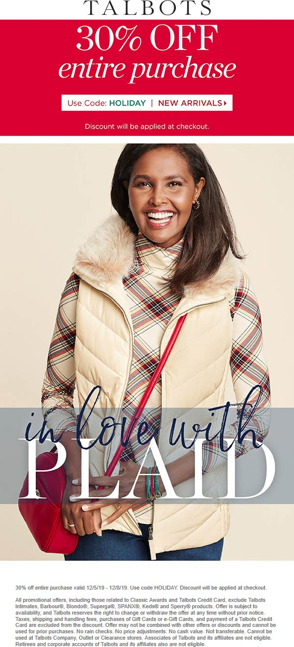 Talbots Coupon January 2020 30% off everything online today at Talbots via promo code HOLIDAY