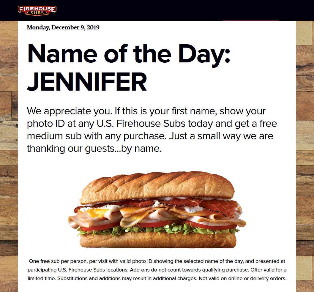 Firehouse Subs Coupon January 2020 Jennifers get a free sub sandwich with any order today at Firehouse Subs