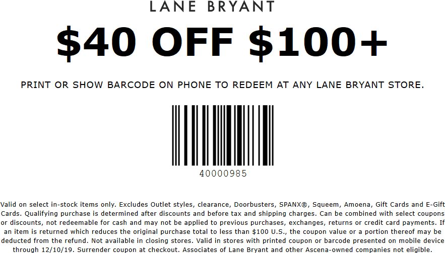 Lane Bryant Coupon January 2020 40% off $100 at Lane Bryant, ditto online