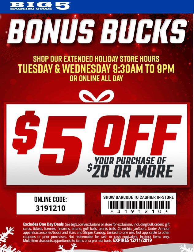 Big 5 Coupon January 2020 $5 off $20 at Big 5 sporting goods, or online via promo code 3191210