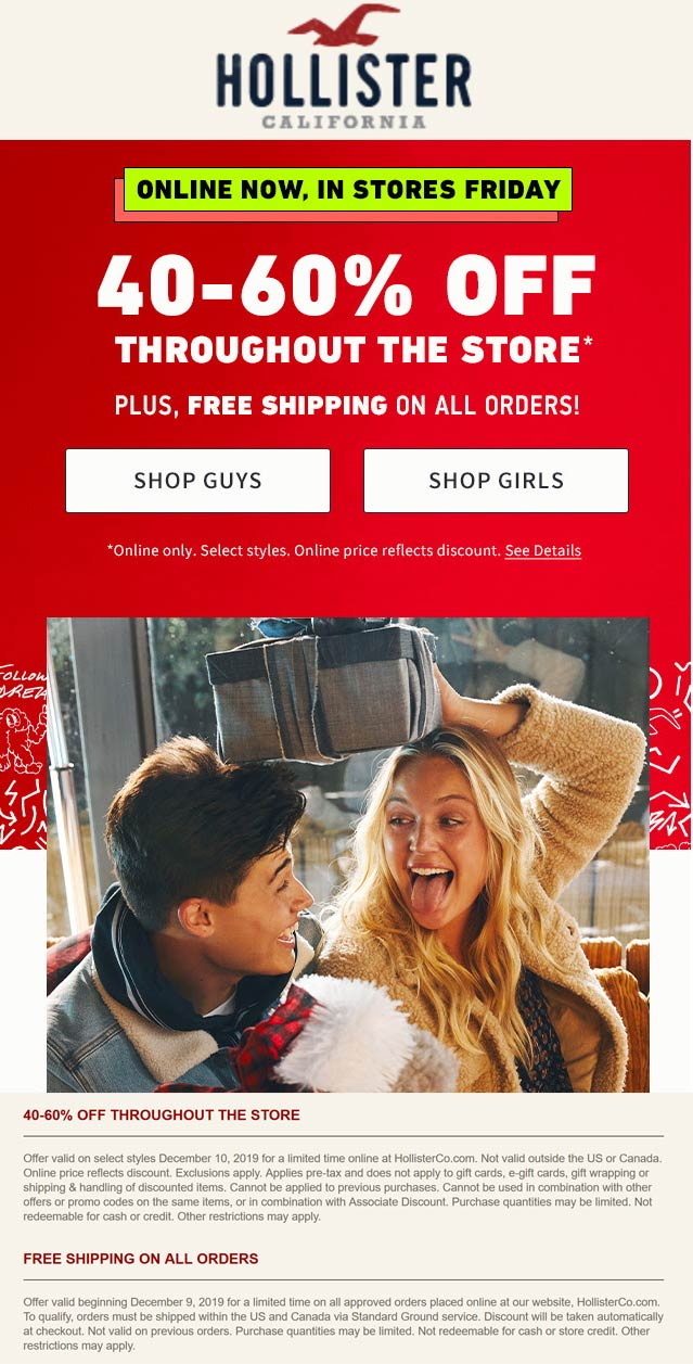 Hollister Coupon January 2020 40-60% off everything at Hollister, ditto online